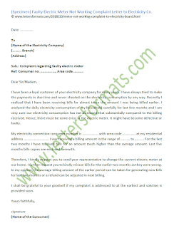 electricity meter not working complaint letter format