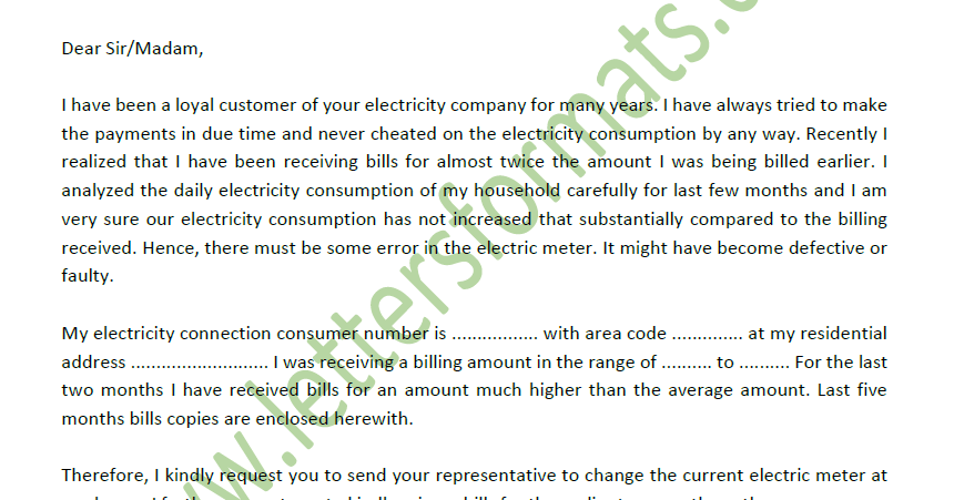 Faulty Electric Meter Not Working Complaint Letter to