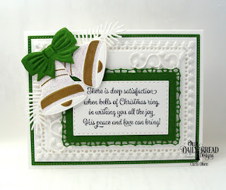 Our Daily Bread Designs, Christmas Bells, Pines and Branches Dies, Christmas Card Verses stamp set, Lavish Layers, Pierced Rectangles, Double Stitched Rectangles, Leaves and Branches Dies