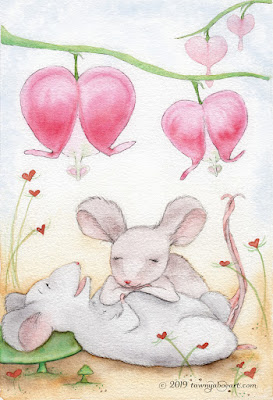 Whimsical Mouse Watercolor Card Design Illustration by Tawnya Boe
