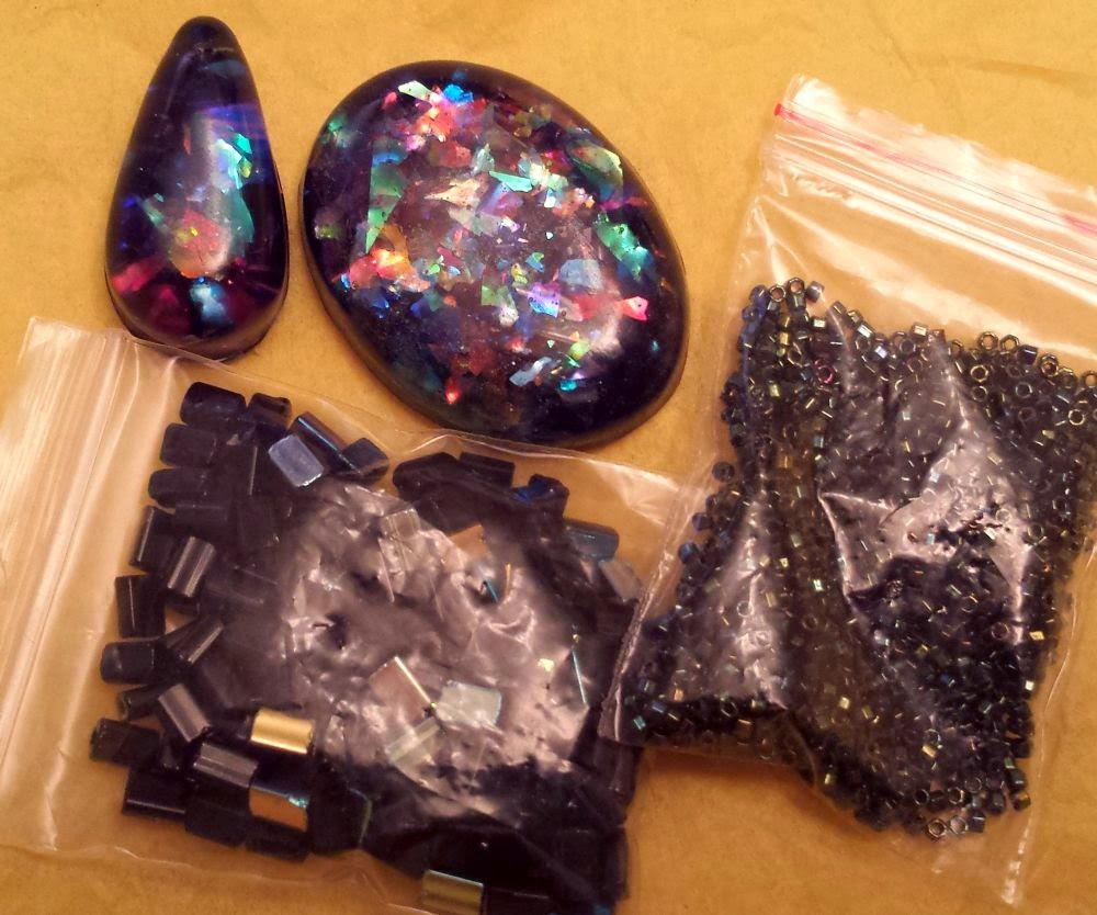 Beed Peeps Swap 'n Hop, May 2 reveal ~ raisin cab, seed beads :: All Pretty Things