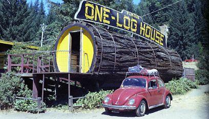one log house garberville California | చెట్టు కాండంలో ఇల్లు
