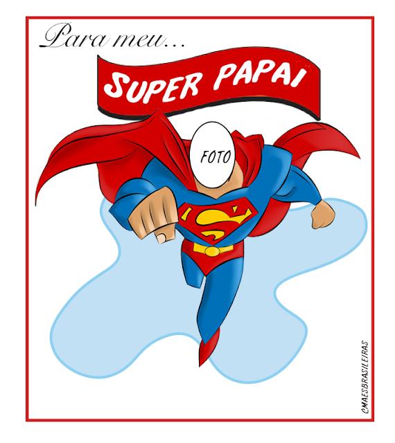 Cartão super herói dia dos pais para imprimir