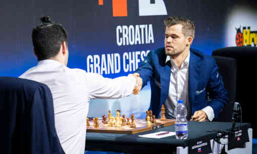 Magnus Carlsen passé en tête après sa victoire ronde 6 sur Hikaru Nakamura - Photo © Lennart Ootes pour le Grand Chess Tour