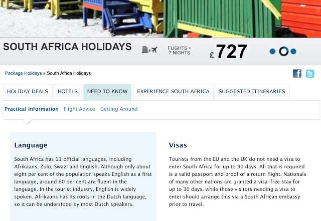 Expedia's South African Webpage