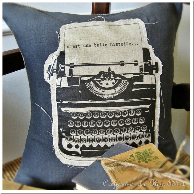 Confessions Of A Plate Addict Linen And Burlap Vintage French Typewriter Pillow