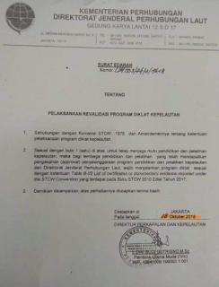 Surat Edaran dаrі Kemenhub Dirjen Hubla - SERTIFIKAT KETERAMPILAN PELAUT INI SUDAH TIDAK PERLU LAGI DIREVALIDASI