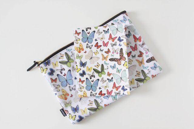 watercolor butterflies, Anne Butera, My Giant Strawberry, Surface Pattern Design, Society6, zipper pouch, carry all pouch, notebook
