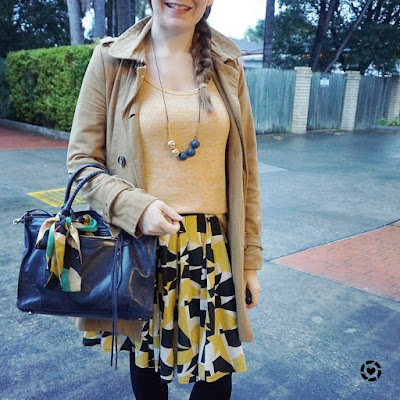 awayfromtheblue instagram | trench coat monochrome mustard outfit with navy regan bag