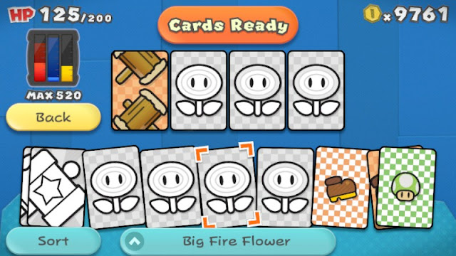 Paper Mario Color Splash cards battle screen ready Big Fire Ice Flower paint capacity blue red unpainted