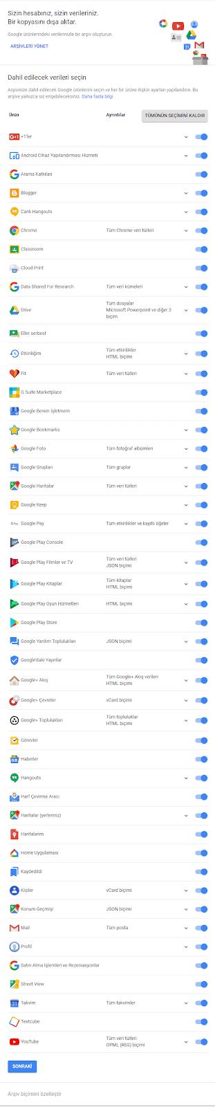 google-hizmetlerini-arşivleme