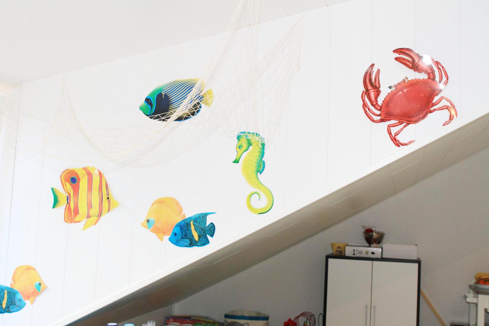stickers d'animaux de mer colles au mur