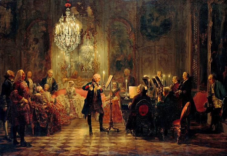 Adolph Menzel - Flötenkonzert Friedrichs des Großen in Sanssouci