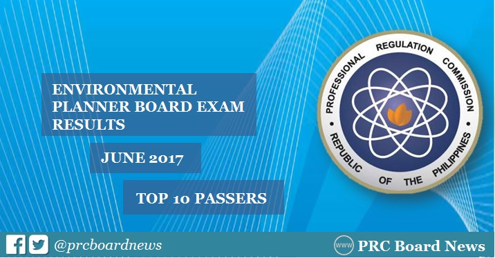 Top 10 Passers: June 2017 Environmental Planner board exam