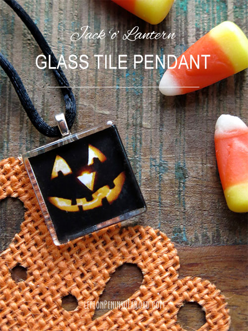 Follow tutorial to make a Halloween glass tile pendant. Easy jewelry craft.