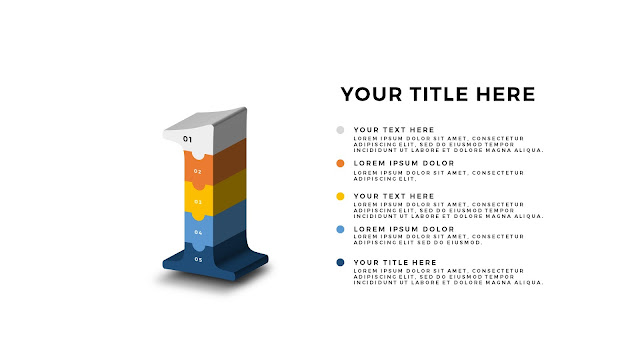 Free PowerPoint Template with Number One 3D Puzzle infographics