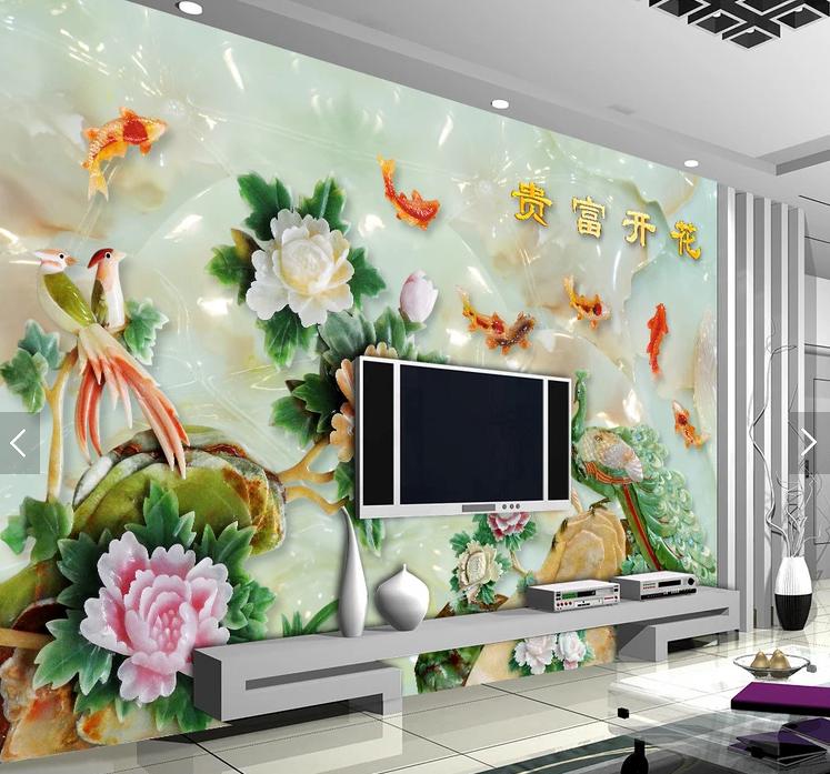 Tranh dán tường 3d hoa mẫu đơn cửu ngư khổng tước