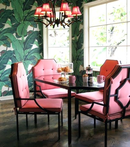 leaf wallpaper in Nikki Hilton's home