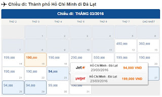 Giá vé máy bay Hồ Chí Minh đi Đà Lạt tháng 3/2016
