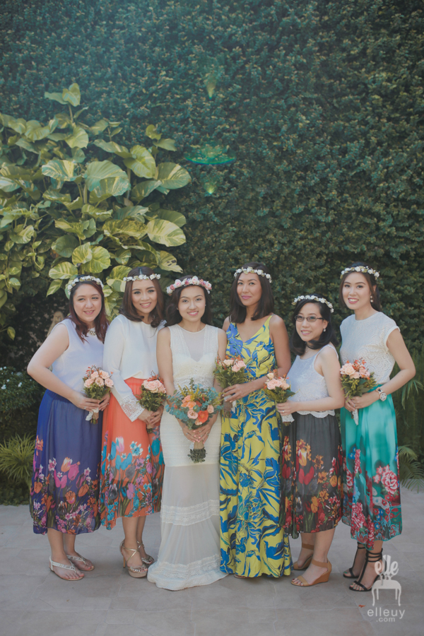 Boho bride, bohemian dress attire, floral skirt bridesmaid, floral crown entourage
