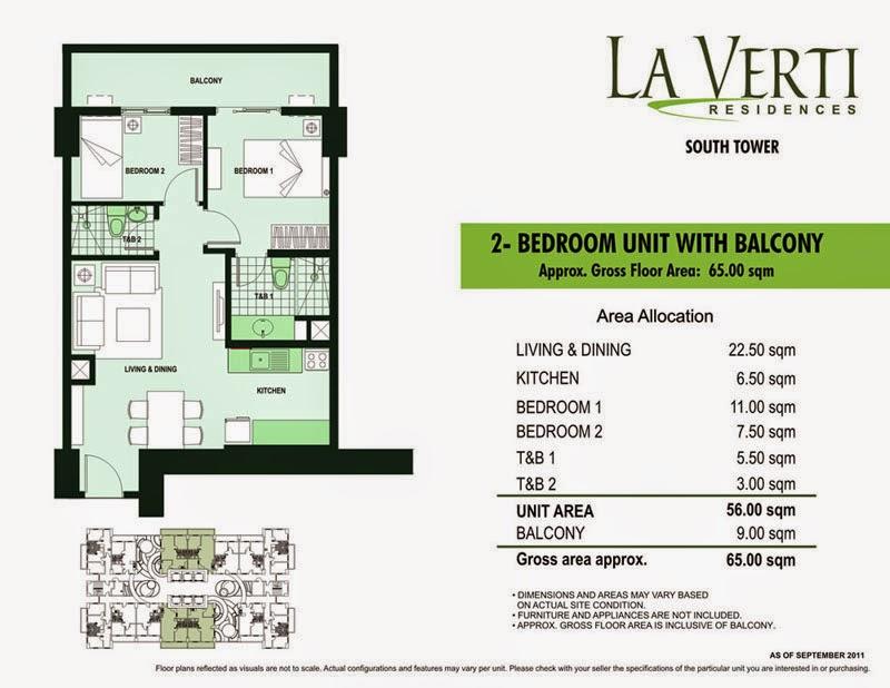 La Verti Residences 2-Bedroom Unit 65.00 sqm