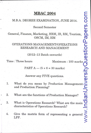 Pondicherry University: Operations Management Operations Research