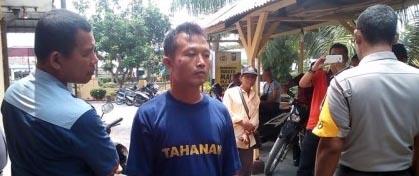Wijaya Kartika warga Batubara yang mencuri sepedamotor di Tebingtinggi saat di kantor polisi.
