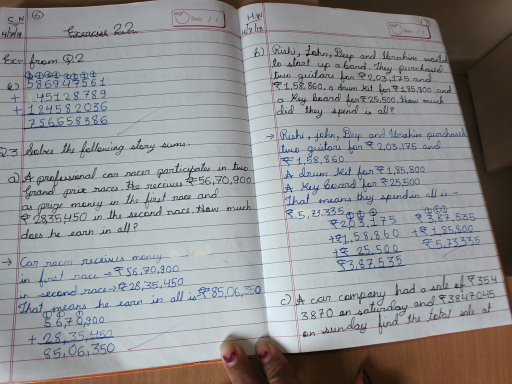 GRADE - 5: Maths Chapter-2 Addition and Subtraction