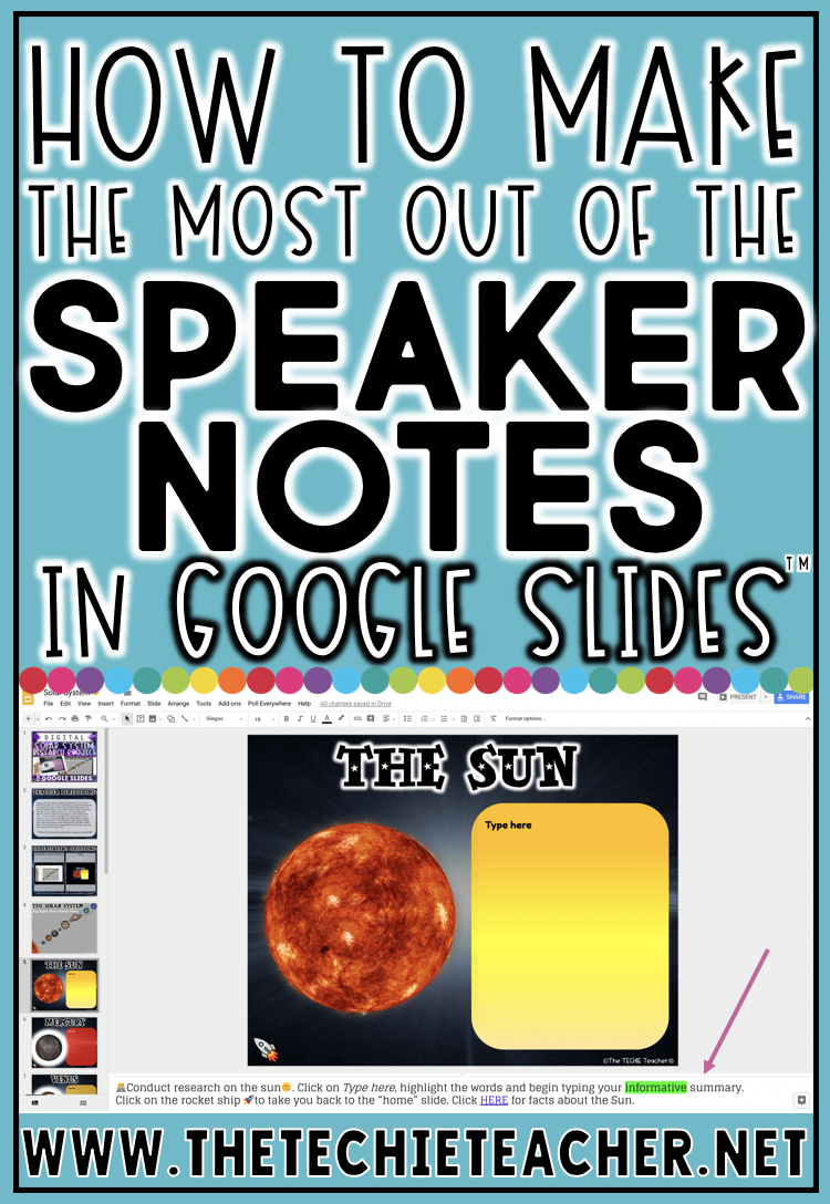Learn How To Get The Most Out Of The Speaker Notes In Google Slides™ whether you are presenting or assigning templates or activities to students!