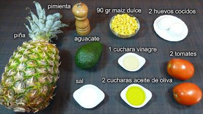 Ensalada tropical. Ingredientes