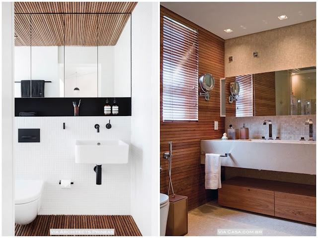 como usar madeira no banheiro