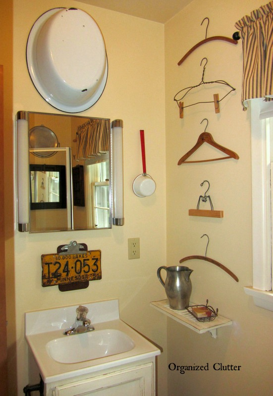 Vintage Rustic Decor in a Small Bathroom www.organizedclutter.queen.blogspot.com
