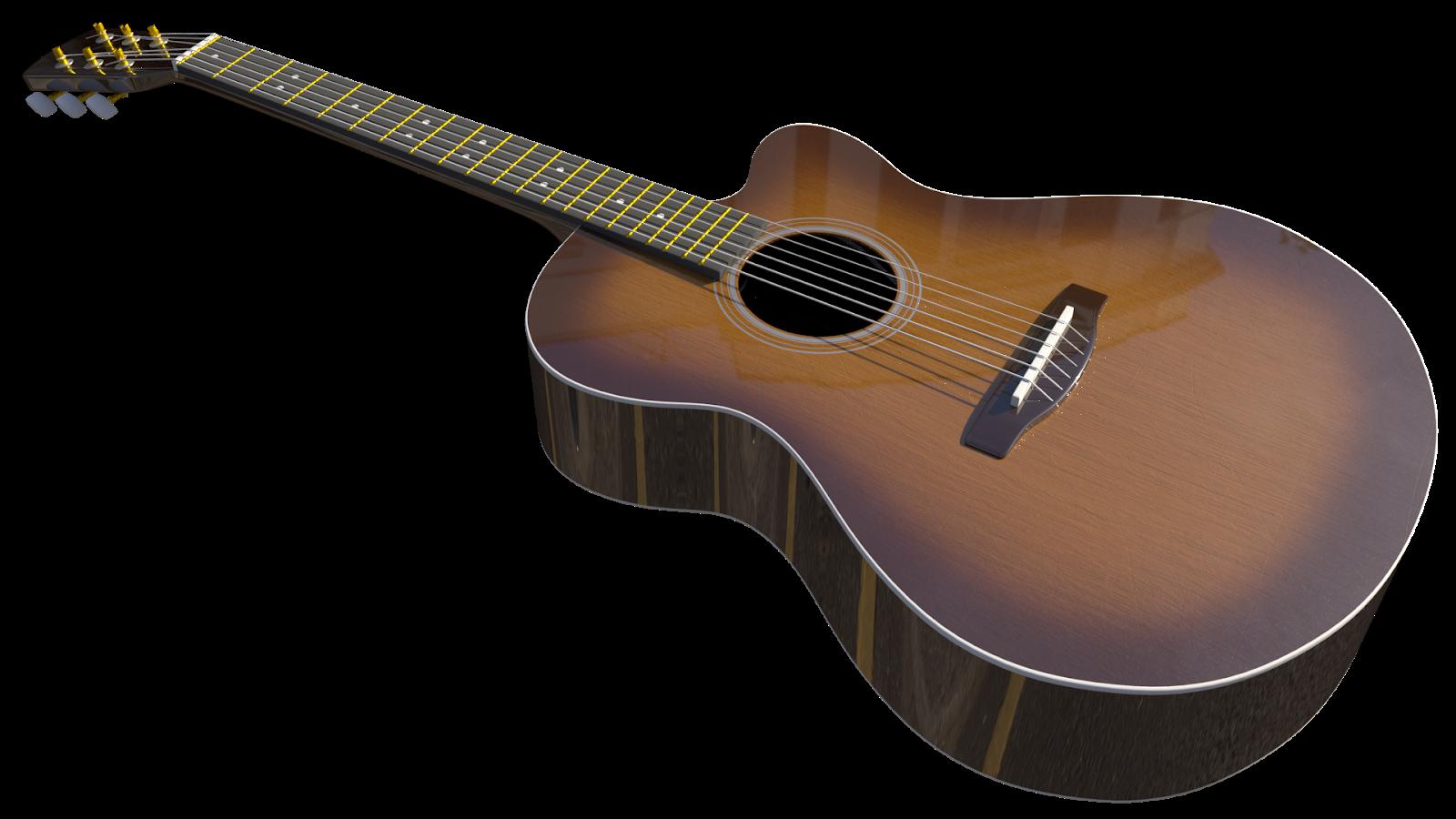 Free 3D Melody Acoustic Guitar CC0 3DS - Free 3D Models Under Public Domain