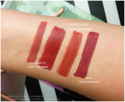 SWATCHES Comparazioni CONFUSION  biopastello Labbra -  Collezione Mutations - Neve cosmetics
