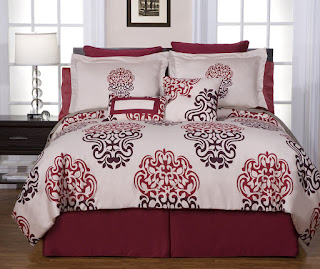 Red and Cream Double Bedding Sets