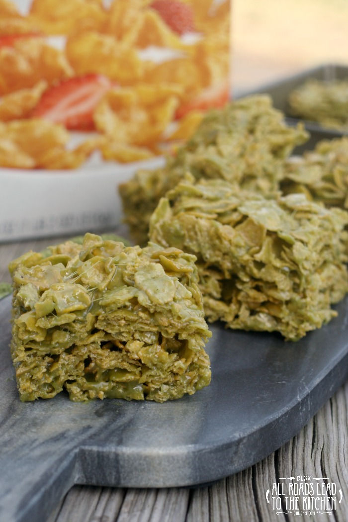 Matcha Marshmallow Corn Flakes Squares