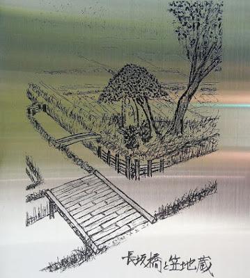 昔の絵 長坂橋の地蔵尊
