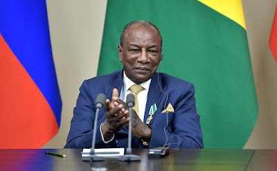 President of the Republic of Guinea Alpha Conde during the ceremony of signing Russia-Guinea cooperation documents.