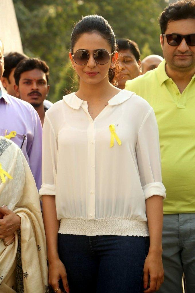 Rakul Preet Singh At Apollo Hospitals In White Shirt Jeans