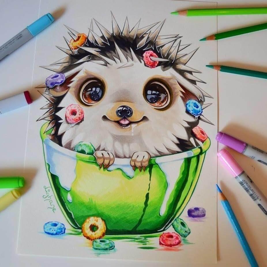 01-Baby-Hedgehog-Lisa-Saukel-lighane-Cute-Colored-Fantasy-Animal-Drawings-www-designstack-co
