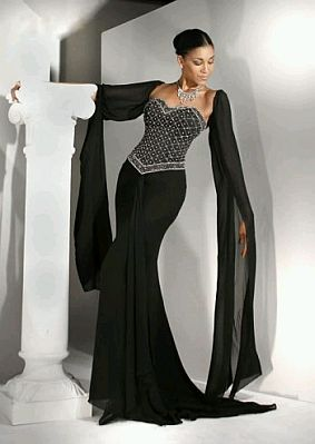 Vestidos de fiesta largos negro y blanco