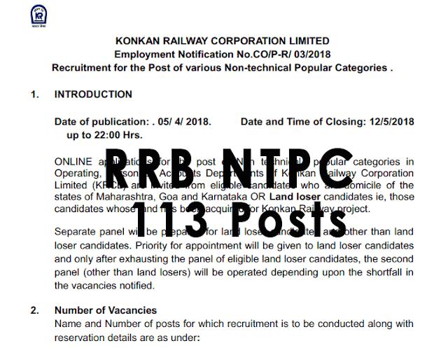 Konkan Railways RRB NTPC Recruitment Out [PDF] - 113 Posts - Exam Tyaari