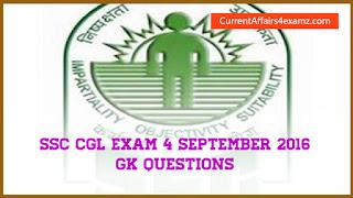 SSC CGL Questions 4 September 2016
