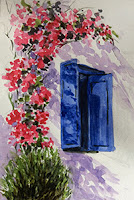 Water colour study work of a blue window in Santorini, Greece by Manju Panchal