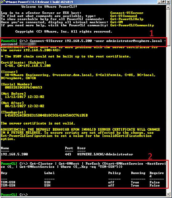 VMware 6.5.0: Habilitar el servicio de SSH en todos los host de nuestra organización.