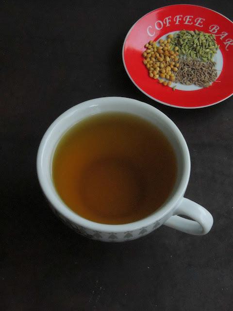 Coriander,cumin &fennel seeds tea