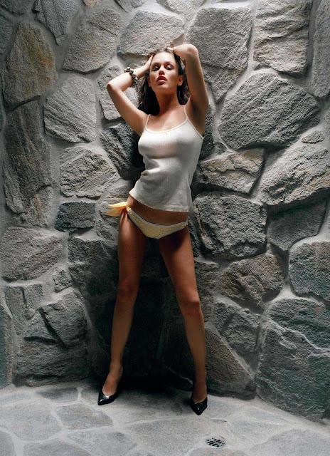 rachel bilson the o.c. bikini bottom white tank top