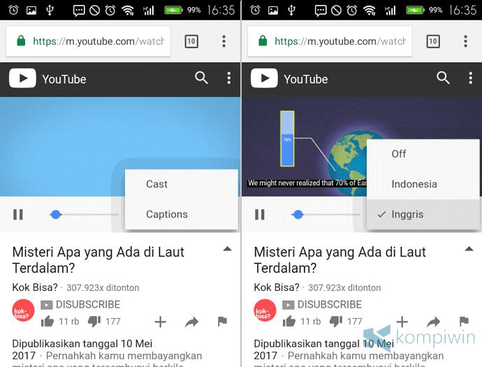 memilih subtitle youtube