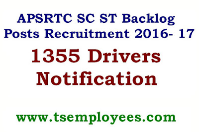 APSRTC SC ST Backlog Posts Recruitment 2016- 17 Driver Conductor Jobs Posts Notification Age Limit Online Application results District wise posts education Qualification age limit required certificated documents salary application fee complete guideleines how to applay for apsrtc sc st backlog posts in online instruction given below. Andhra Pradesh APSRTC SC ST Backlog vacancies notification has been released. Recruitment is available in all the regions like Vizianagaram, Visakhapatnam, East Godavari, West Godavari, Krishna, Vijayawada, Guntur, Prakasam, Nellore, Kadapa, Anantapuram and Kurnool