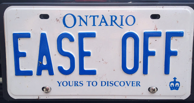 Personalized vanity Ontario licence plate EASE OFF